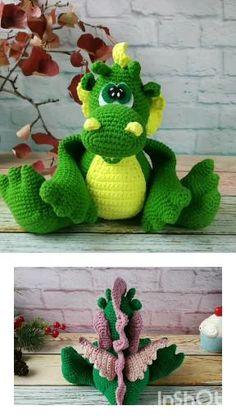 Funny Dragon crochet pattern english pdf. Amigurumi Dragon nursery decor. Stuffed dragon DIY. Digital download Crochet Mouse, Crochet Dolls, Amigurumi Toys, Amigurumi Patterns, Handmade Toys, Handmade Crafts, Dragon Nursery, Funny Dragon, Jute Crafts