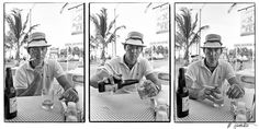 Triptych of Hunter S. Thompson at Pepe's Bar in Cozumel, Mexico