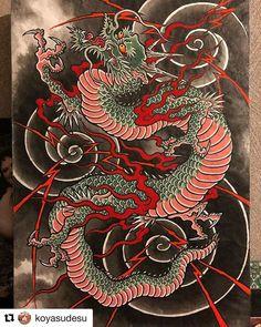 Japanese Drawings, Japanese Artwork, Japanese Tattoo Designs, Japanese Tattoo Art, Small Dragon Tattoos, Japanese Dragon Tattoos, Dragon Tattoo Designs, Watercolor Dragon Tattoo, Dragon Illustration