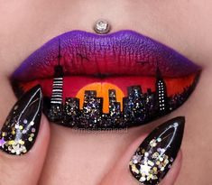 New York Skyline. Body Painting with Lip Art. To see more art and information about Jazmina Daniel click the image. Lip Art, Class Ring, Lips, Pretty, Jewelry, Fashion, Jewellery Making, Moda, Jewellery