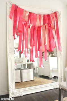 pink ribbon garland: in the Fun Lane: Birthday Bonanza