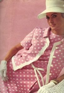 1968 pink dots dress. Pink continued it's popularity from, 1950's into 1960's,gettng brighter in hue. ALady