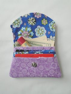 Fabric Womens Wallet Small Wallet Credit Card by Shoppebylola, $10.00