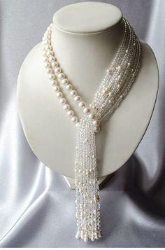 "Necklace-tie of pearl with rock crystal ""Waterfall"" Perlen Quaste Halskette mit Bergkristall Wasserfall Bead Jewellery, Pearl Jewelry, Jewelery, Fashion Jewellery, Gold Jewelry, Women Jewelry, Jewelry Crafts, Handmade Jewelry, Etsy Handmade"