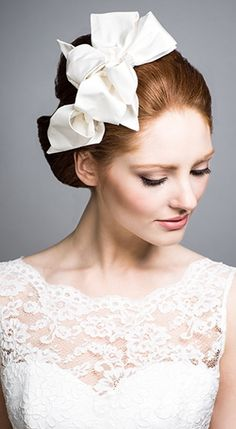 Rachel Trevor Morgan - Bridal Couture. Silk taffeta bow headdress with diamante. #passion4hats