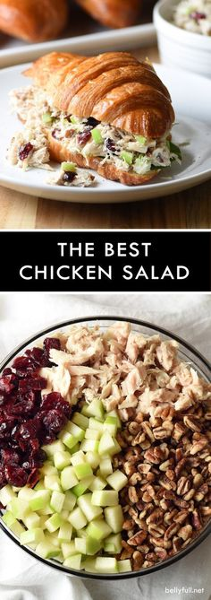 This is the BEST chicken salad. It could not be easier or more delicious. With c… This is the BEST chicken salad. It could not be easier or more delicious. With chicken, cranberries, apples, and pecans, it's wonderful on its own or as a sandwich! Lunch Recipes, New Recipes, Cooking Recipes, Favorite Recipes, Sandwich Recipes, Sandwich Ideas, Sandwich Bar, Sandwich Spread, Snacks