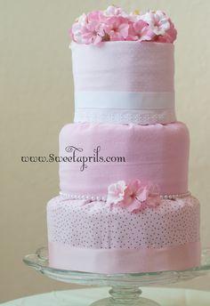 Sweetaprils: Fondant Style Diaper Cake Tutorial DIY (diapers wrapped in receiving blankets)