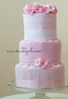 Sweetaprils: Fondant Style Diaper Cake Tutorial DIY (diapers wrapped in receiving blankets)