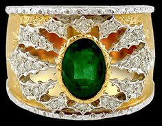 BUCCELLATI Diamond Emerald Ring