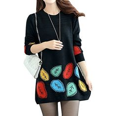 MNBS Women's Round Neck Long Sleeve Leaves Pattern Tunic Knitted Sweater Medium Black MNBS http://www.amazon.co.uk/dp/B016NV1GG6/ref=cm_sw_r_pi_dp_kZ25wb0ZBTPMD