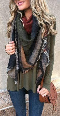 #fall #fashionistas #outfits | Free People Thermal Tee + Scarf + Jeans