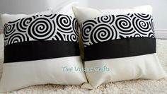 """Elaborately produced by artisans in Northern Thailand.     16"""" X 16"""" White Thai Silk Throw Pillow Covers with Black Spiral Stripe    Product Features:    - 16"""" x 16"""" for Two throw pillow covers only; not included cushion pillows insert  - Handmade from Thai silk  - Hidden zippers & easy to remove  - Dry clean recommended      Visit us at http://www.etsy.com/shop/thaiuniquecrafts?ref=pr_shop_more    Thank you!"""