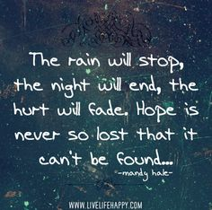 The Rain Will Stop,the Night Will End,the Hurt Will Fade.Hope Is Never So Lost that It Can't be Found ~ Hope Quote