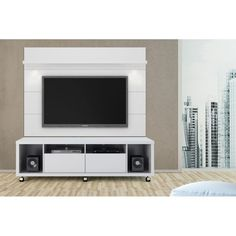 Manhattan fort Lincoln White Gloss Floating Wall TV Panel 1 9