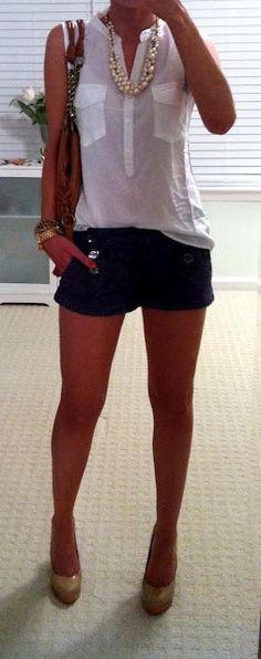 Summer | shorts Camisa e colar