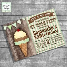 Birthday Party invitation ice cream party green by myooakboutique etsy store