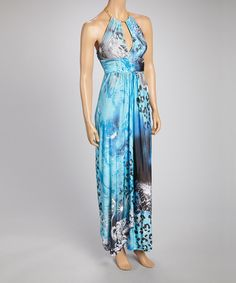Take a look at the Blue & Black Leopard Chain Halter Maxi Dress on #zulily today!