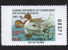 1987 Pintails  Artist: Robert C. Knutson Alabama Dept of Conservation and Natural Resources Stamp