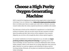 Choose a High Purity Oxygen Generating Machine
