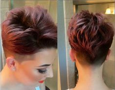 Super Sexy Short Hairstyles With Shaved Sides! Cute Short Haircuts, Girl Haircuts, Easy Hair Cuts, Short Hair Cuts, Shaved Side Hairstyles, Cute Hairstyles, Pixie Styles, Short Hair Styles, Cooler Stil