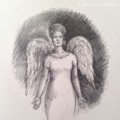 """One week ago, I started a daily drawing challenge. Daily Angel #1 ""Let the peace of Christ rule in your hearts."""""