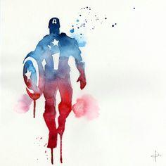 Watercolour captain America  Source unknown