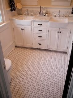 hex tile, marble counters, shaker cabinets