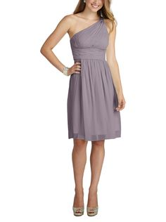 Donna Morgan Gray Ridge - Donna Morgan Rhea is a cocktail length, one shouldered bridesmaid dress with a hidden zipper in back. Rhea is made of chiffon.