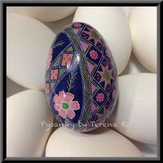 Pysanky by Terena Yohe - artist love the purple and pink
