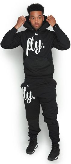 FLY. Comfort Hoodie Outfit: ALL Black/White Print (UNISEX FIT)