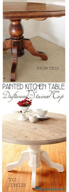 Kitchen Table Makeover with Easy Rust-Oleum Driftwood Stained top.