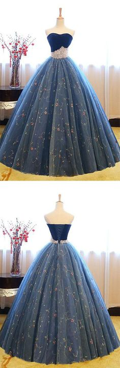 Charming A-Line Sweetheart Blue Tulle Long Prom/Evening Dress with Pearls B0712