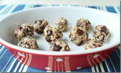 Cherry coconut chocolate chip raw dough balls