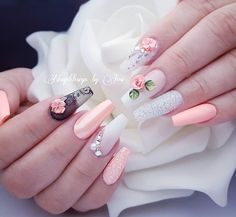 """See our site for even more relevant information on """"top nail art designs It is an outstanding location to find out more. Glam Nails, 3d Nails, Matte Nails, Perfect Nails, Gorgeous Nails, Pretty Nails, Wedding Nails Design, Ballerina Nails, Flower Nails"""