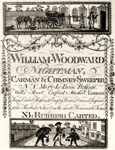 William Woodward Nightman's Trade Card. He specialized in Chimney Sweeps and Rubbish Removal in London. The rubbish also included emptying cesspools and privies at short notice.