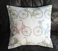 Cushion Pink bike teal green bicycle cushion cover decorative pillow 18 x 18  flowers lemonade
