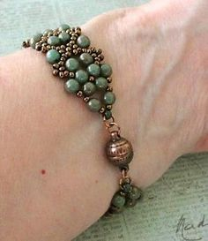 Linda's Crafty Inspirations: Bracelet of the Day: Bobble Bangle - Turquoise Pink Luster by lucile