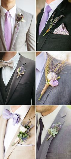 Chic Rusitc Lavender Wedding Boutonnieres for Groom and Groom's Men