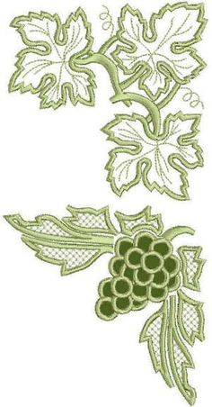 Crewel Embroidery Advanced Embroidery Designs - Grapes and Vine Lace Set Cutwork Embroidery, Flower Embroidery Designs, Free Machine Embroidery Designs, Vintage Embroidery, Embroidery Stitches, Sewing Machine Embroidery, Embroidery Thread, Advanced Embroidery, Embroidery Techniques