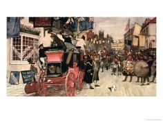 The Election Parade at Eatanswill. The Pickwick Papers, Custom Framing, Giclee Print, Literature, Horses, Reading Books, Coaches, Classic, Stage
