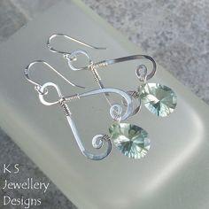 Prasiolite Sterling Silver Spiral Bells Earrings (KS22) ♥