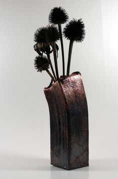 Textured Metallic Raku Vase