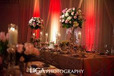 Estate Table Design. Wedding Planner: Lisa Stoner E Events Floral: Botanica International Design Studio Linen: La Tavola Drape: Swag decor Photography: Abby Liga/ Liga Photography