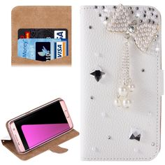 [$3.55] For Samsung Galaxy S7 / G930 Diamond Big Bowknot  Pattern Horizontal Flip Leather Case with Magnetic Buckle & Card Slots