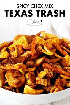 This Texas Trash is solid gold when it comes to snack time! It's a spicy Chex Mix made extra flavorful thanks to a buttery coating seasoned with Creole spices, Worcestershire, hot sauce, and seasoned salt, and it's addictively delicious It comes together with ease and takes less than 10 minutes to assemble!Use it as an easy party appetizer for feeding a crowd, package it up as a salty-sweet homemade gift for the holidays, or simply whip up a batch for curing your snack attacks any time of…