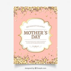 Mother's day card with golden confetti Free Vector