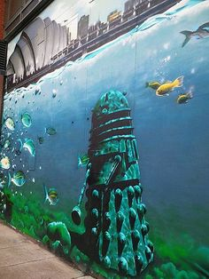 Dalek street art in Glasgow, Scotland by Rogue One. This is why I need to go to Scotland. 3d Street Art, Street Art Graffiti, Doctor Who Art, Art Sculpture, Dalek, Art Graphique, Banksy, Public Art, Tardis