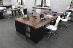 Workbench Version One  industrial office furniture  modern industrial commercial furniture  rustic office furniture  industrial workstation  #commercial #design #moderndesign #ironageoffice http://www.ironageoffice.com/
