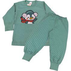 Pijama Longo Infantil de Meia Malha para Menino Estampa de Pinguim