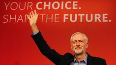 Jeremy Corbyn waves on stage after news is announced that he was elected the new leader of The Labour Party during the Labour Party Leadership Conference in London on Sept. 12.